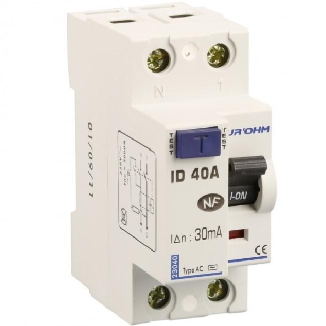 Eur\'ohm - Interrupteur différentiel 1P+N - 40 A / 30 mA - Réf 23140