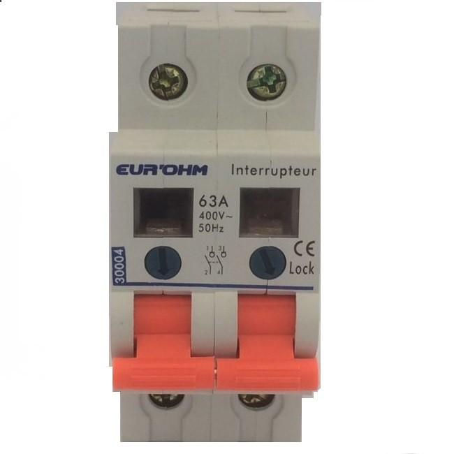 Eur\'ohm - Interrupteur Sectionneur - 2P - 63A - 3kA - Réf 30004