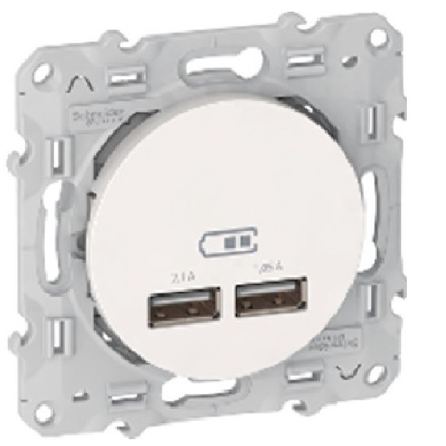 SCHNEIDER ELECTRIC - Odace - double chargeur usb 2.1 A - blanc - REF - S520407