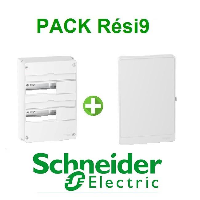 SCHNEIDER ELECTRIC - Pack Resi9 - Coffret + Porte - Resi9 -13 modules - 2 Rangées - REF - Rési9132