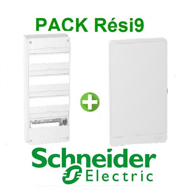 SCHNEIDER ELECTRIC - Pack Resi9 - Coffret + Porte - Resi9 -13 modules - 4 Rangées - REF - Resi9134