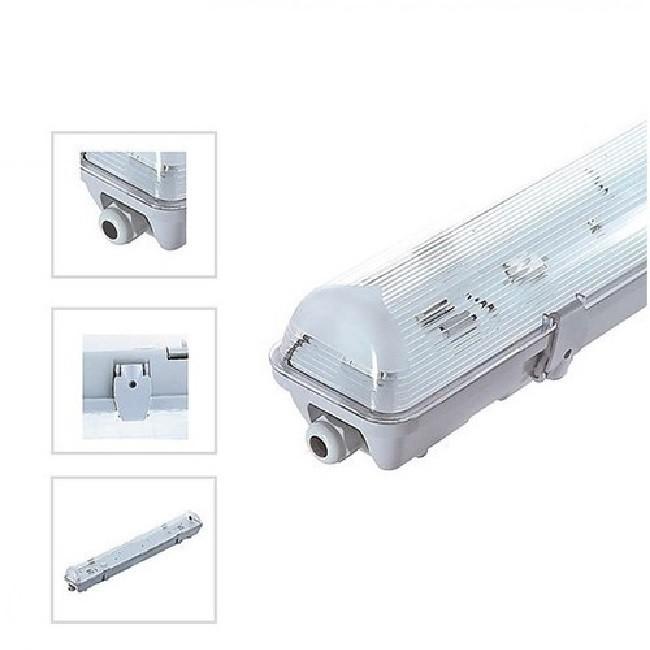 MIIDEX - Boitier Etanche LED sans ballast pour 1 Tube T8 de 1200 mm - REF - 75900