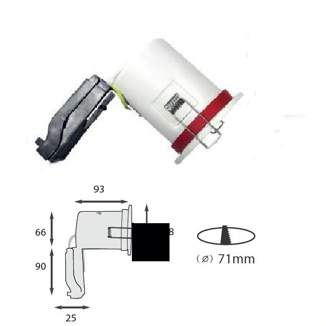 MIIDEX - Support spot fixe BBC  88 mm + douille automatique - finition blanc - REF - 7718