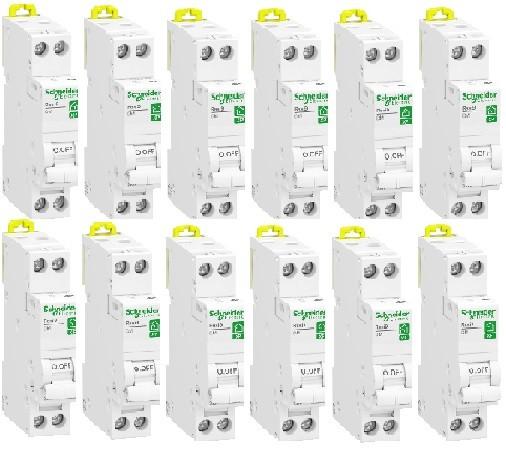 LOT - SCHNEIDER ELECTRIC - 12 Disjoncteurs modulaires Resi9 XP- 1 pôle + N -10A - courbe C - REF R9PFC610