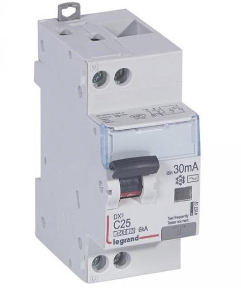 LEGRAND - Disjoncteur différentiel DX³4500 arrivée haute et départ bas à vis U+N 230V~ - 25A typeAC 30mA - courbe C - 2 modules- Ref - 410707