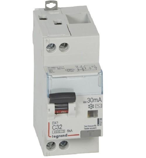 LEGRAND - Disjoncteur différentiel DX³4500 arrivée haute et départ bas à vis U+N 230V~ - 32A typeAC 30mA - courbe C - 2 modules - Réf - 410708