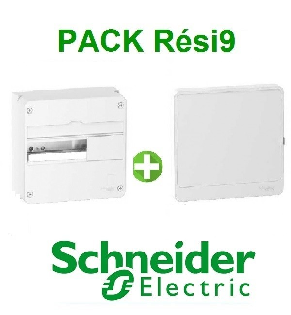 SCHNEIDER ELECTRIC - Pack Rési9 - Coffret + Porte - 13 modules - 1 Rangée - REF - Rési9131