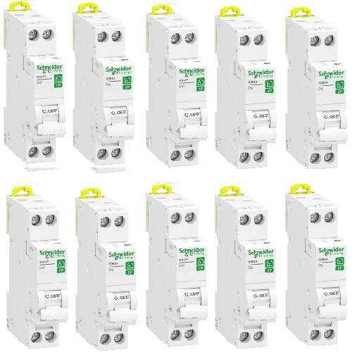 LOT - SCHNEIDER ELECTRIC - 10 Disjoncteurs Rési9 XP - 1Ph+N - 2A - C - REF R9PFC602