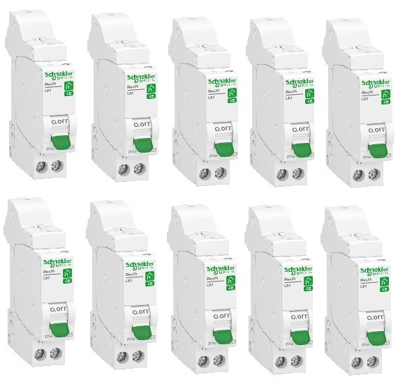 LOT - SCHNEIDER ELECTRIC - 10 Disjoncteurs Rési9 XE - 1Ph+N - 32A - C - Embrochable - REF R9EFC632