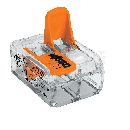 WAGO - Bôite de 50 Mini-bornes d\'installation universelles - 2x6mm2 - Ref - 221612