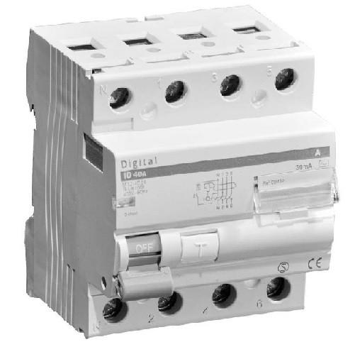 DIGITAL ELECTRIC - Interrupteur Différentiel Tétrapolaire 63A - 4 modules Type A - Réf -03444