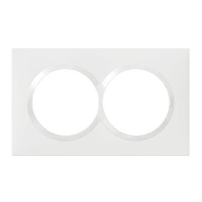 LEGRAND - Dooxie - Plaque carrée spéciale - 2 postes avec entraxe 57mm finition blanc - REF 600807