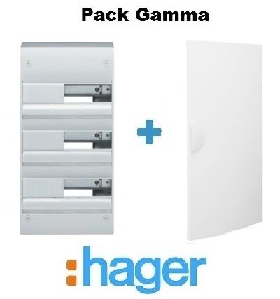 HAGER - Pack Gamma Coffret + Porte - 39 modules - 3 rangées
