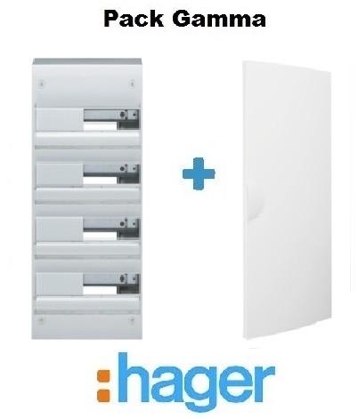HAGER - Pack Gamma Coffret + Porte - 52 modules - 4 rangées - REF - GAMMA4
