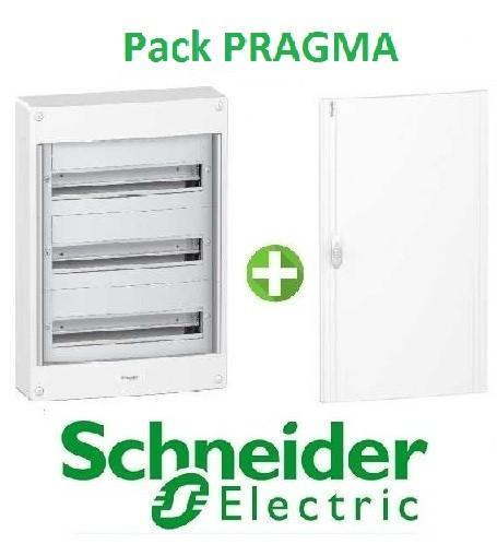 SCHNEIDER ELECTRIC - Pack Pragma - Coffret + Porte - Pragma -18 modules - 3 Rangées - REF - PRA137