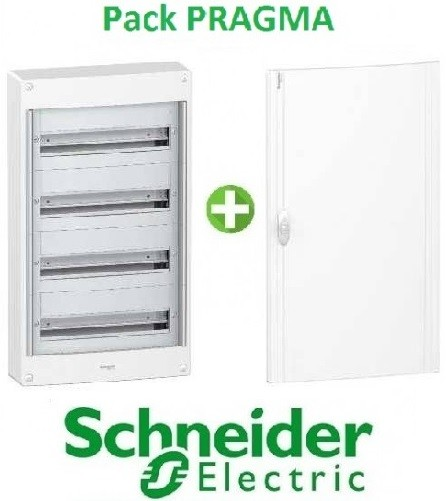 SCHNEIDER ELECTRIC - Pack Pragma - Coffret + Porte -18 modules - 4 Rangées - REF - PRA1374