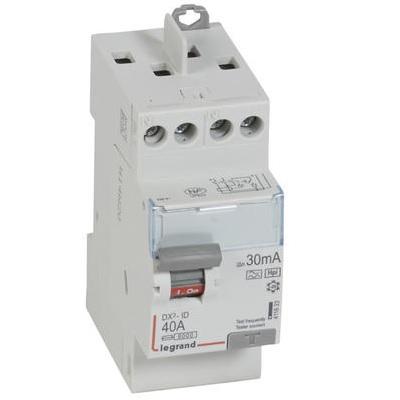 LEGRAND - Interrupteur différentiel DX³-ID - vis - 2p - 230v~ - 40 a - type F - 30mA - départ haut - 2M - Ref 411623