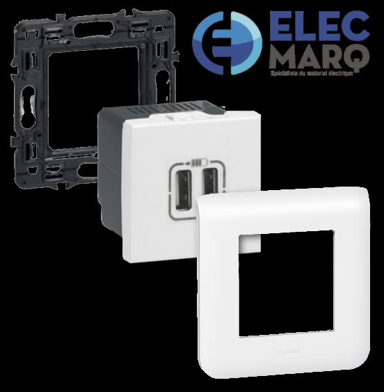 Les Complets LEGRAND Mosaic - La prise double chargeur USB avec Elecmarq - ref - Elec25