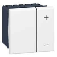 LEGRAND - Interrupteur variateur Prog Mosaic - 2 mod - sans neutre - 2 fils - 600 W - blanc - REF 078405