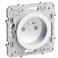 SCHNEIDER ELECTRIC - Odace prise de courant 2P+T blanc à vis 2 connexions rapides par pôle - REF S520059