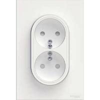 SCHNEIDER ELECTRIC - Odace prise de courant 2P+T double Blanc, à griffes spécial renovation, 1 poste - REF S521089