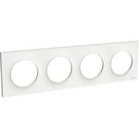 SCHNEIDER ELECTRIC - Odace Styl, plaque Blanc 4 postes horizontaux ou verticaux entraxe 71mm - REF S520708
