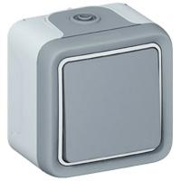 LEGRAND - Poussoir NO Prog Plexo complet saillie gris - 10 A - REF 069720