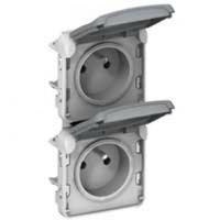 LEGRAND - Prises 2x2P+T vertical précâblées Prog Plexo composable gris - 16 A - 250 V - REF 069563