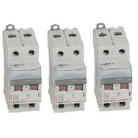 LOT - LEGRAND - 3 Inter-sectionneur- de tête DX-IS - vis/vis - 2P - 400 V~ - 63 A - 2 M - Ref 406441