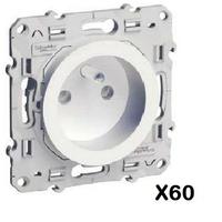 LOT - SCHNEIDER ELECTRIC - 60 prises 2P+T Odace - à vis, 2 connexions rapides par pôle ref S520059