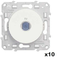LOT - SCHNEIDER - 10 Prises TV Blanc Odace - à vis - ref S520445