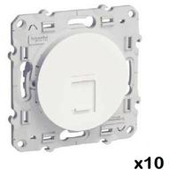 LOT - SCHNEIDER - 10 Prises RJ45 Blanc Odace - grade 1 (téléphone + informatique) cat. 6 UTP, à vis ref S520476