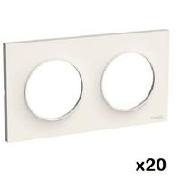 LOT - SCHNEIDER - LOT de 20 plaques Blanc Odace - 2 Postes ref S520704
