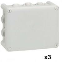 LOT - LEGRAND - 3 Btes rect - 155x110x74 - étanche Plexo gris – embout (10) -IP55/IK07- 750C ref 092042