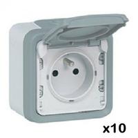 LOT - LEGRAND - 10 Prises 2P+T - avec éclips de protection Prog Plexo complet saillie gris - 16A ref 069731
