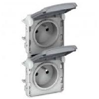 LEGRAND - Prises 2x2P+T vertical précâblées Prog Plexo composable blanc - 16 A - 250 V - Ref 069643