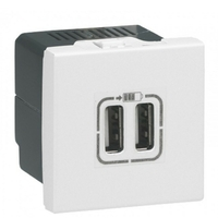 LEGRAND - Alimentation USB 230 V / 5 V - 2 ports - 2 modules - blanc - Réf - 077594