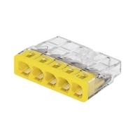 WAGO - Boîte de 100 Bornes de connexion - 5 pôles - transparent, jaune  - REF 2273-205