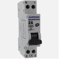 Eur'ohm - Disjoncteur 1P+N 2A NF,cx vis haut/bas 3kA - Réf 20002