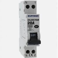 Eur'ohm - Disjoncteur 1P+N 20A NF,cx vis haut/bas 3kA - Réf 20020
