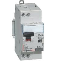 LEGRAND - Disjoncteur différentiel DX³4500 arrivée haute et départ bas à vis U+N 230V~ - 20A typeAC 30mA - courbe C - 2 modules- Ref - 410706