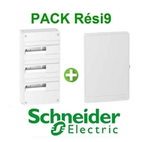 SCHNEIDER ELECTRIC - Pack Resi9 - Coffret + Porte - Resi9 -13 modules - 3 Rangées - REF - Resi9133