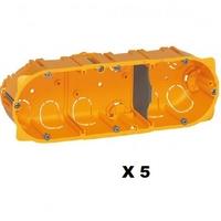 LEGRAND - Lot de 5 Boîtes multiposte Batibox - cloison sèche - 3 postes - 6/8 mod - prof. 40 - REF 080043