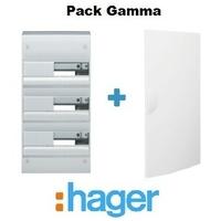 HAGER - Pack Gamma Coffret + Porte - 39 modules - 3 rangées - REF - GAMMA3