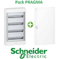 SCHNEIDER ELECTRIC - Pack Pragma - Coffret + Porte - Pragma -18 modules - 4 Rangées - REF - PRA1374