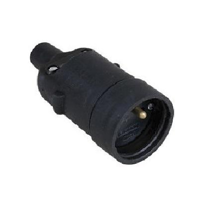 EUR'OHM - Prolongateur 2P+T - femelle 16A caoutchouc noir sans bague - Réf - 61056