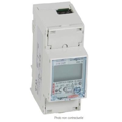 LEGRAND - Compteur Modulaire monophasé - Raccordement direct 63A - 2 modules - sortie et entrée à impulsions - Réf - 412082