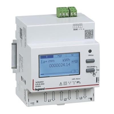 LEGRAND - Compteur modulaire triphasé EMDX³ non MID 63A - 4 modules - avec sortie RS485 - double comptage ou entrée à impulsions - Réf - 412091