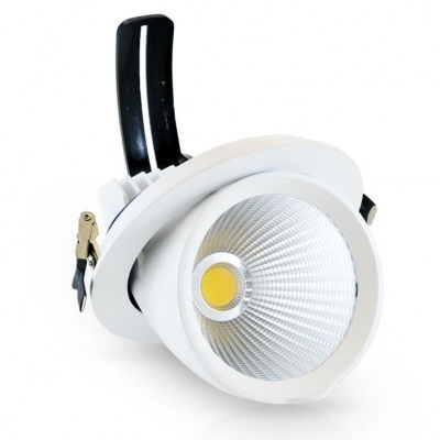 MIIDEX - Spot LED Encastrable Escargot Rond Inclinable /Orientable - Alimentation Electronique 20W 4000K - REF - 76720