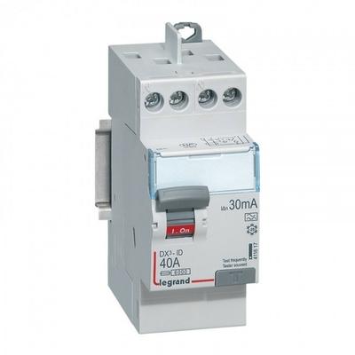 LEGRAND - Interrupteur différentiel DX-ID - vis/vis - 2P - 230V~ - 40A - type A - 30mA - départ haut- 2M - REF 411617
